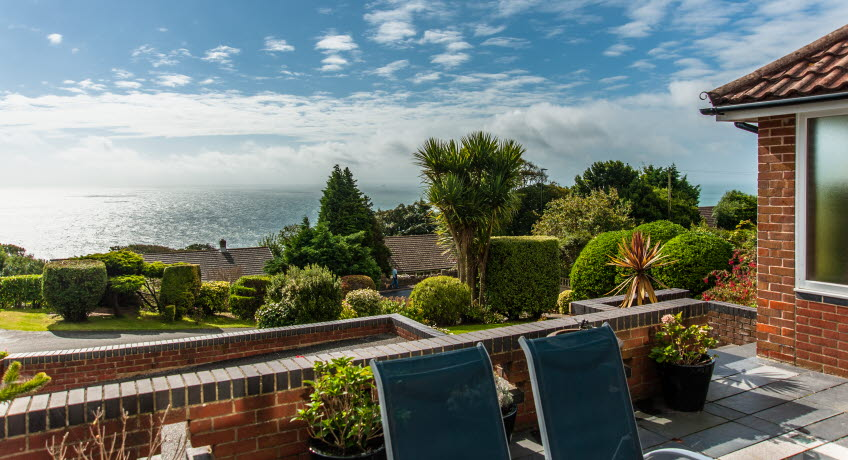 Claddagh B&B terrace view, Bonchurch, Isle of Wight