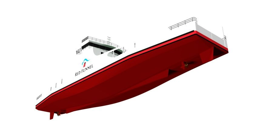 Freight ferry render of hull