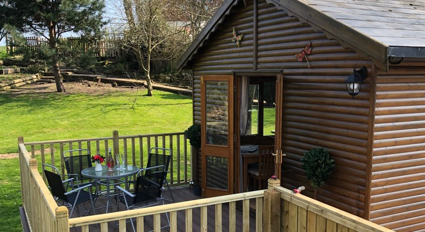 Willow Brook Lodge - decking overlooking garden