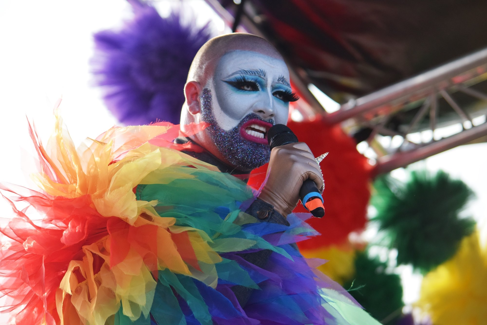UK Pride rainbow beard attitude