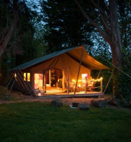 Safari Tent at Tapnell Farm night time Yarmouth Isle of Wight