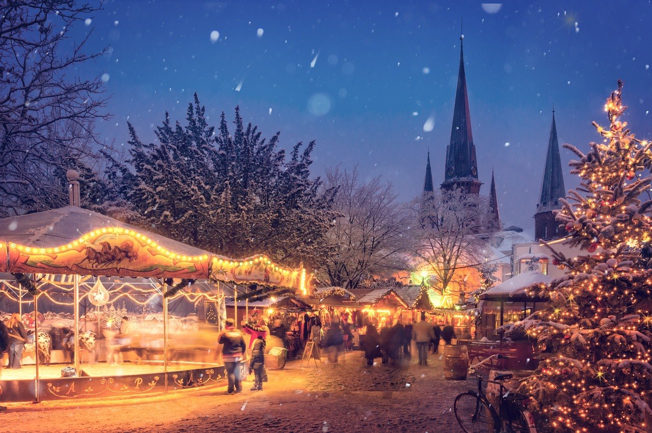 Illuminated Christmas market Europe