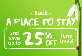 Book a place to stay and save up to 25% off ferry travel