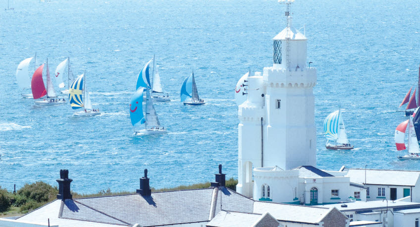 St Catherines Lighthouse with yachts