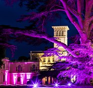 Osborne House lit up at night