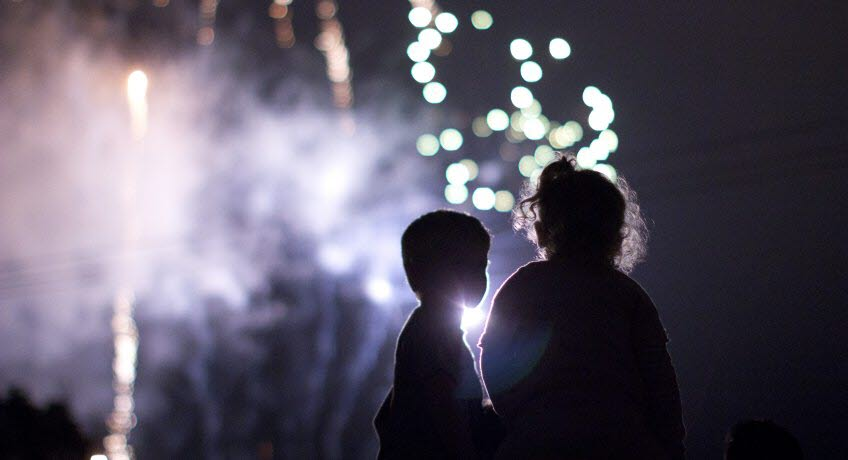 Children watching fireworks