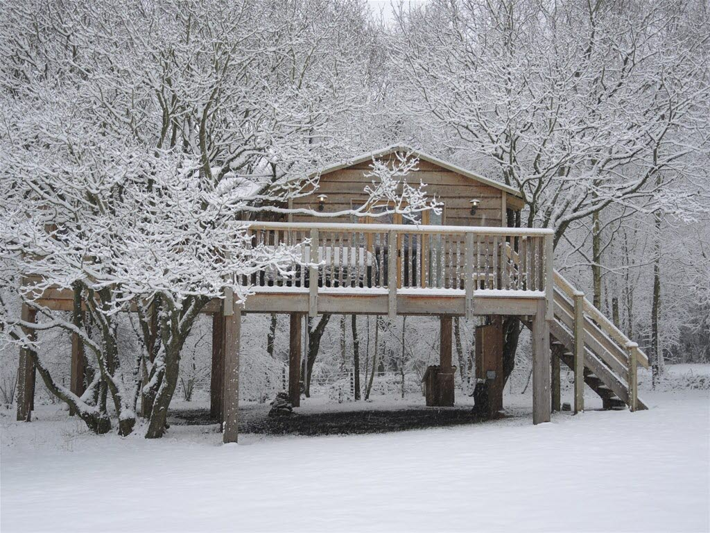 Into The Woods Treehouse in the Snow